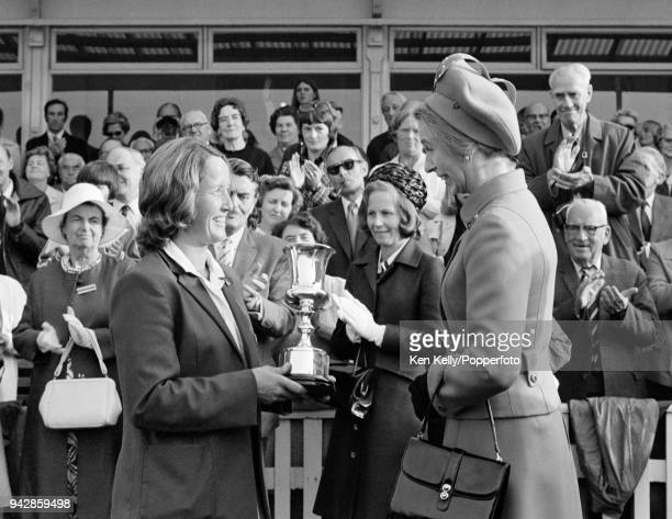 England women's cricket captain Rachael HeyhoeFlint is presented with the World Cup by HRH Princess Anne after England beat Australia by 92 runs in...