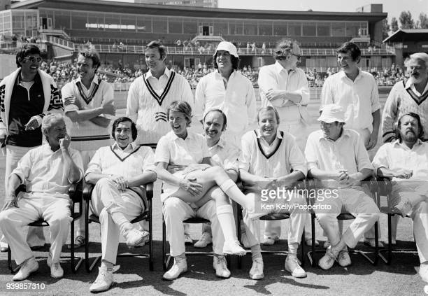 England Women's cricket captain Rachael HeyhoeFlint joins the Lords Taverners players for a team photo before a charity match at Edgbaston Birmingham...