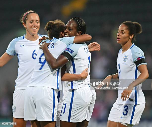 England women's Danielle Carter right celebrates scoring the opening goal with teammate Nikita Parris during the UEFA Womens European Championship...