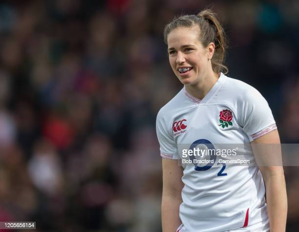 England Women's Emily Scarratt during the Women's Six Nations match between England Women and Wales Women at Twickenham Stoop on March 7 2020 in...