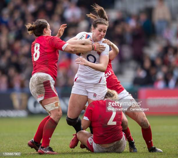 England Women's Emily Scarratt  in action during the Women's Six Nations match between England Women and Wales Women at Twickenham Stoop on March 7...