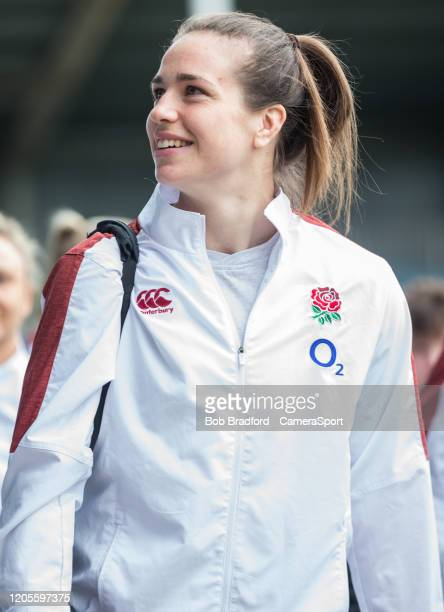 England Women's Emily Scarratt arrives at the ground during the Women's Six Nations match between England Women and Wales Women at Twickenham Stoop...