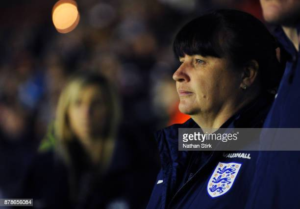 England women's interim head coach Mo Marley looks on during the FIFA Women's World Cup Qualifier between England and Bosnia at Banks' Stadium on...