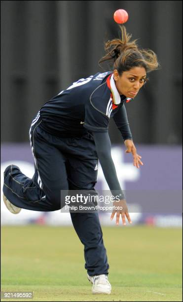 England Women's Isa Guha bowling with a pink ball during the 4th One Day International between England Women and Australia Women at Wormsley near...
