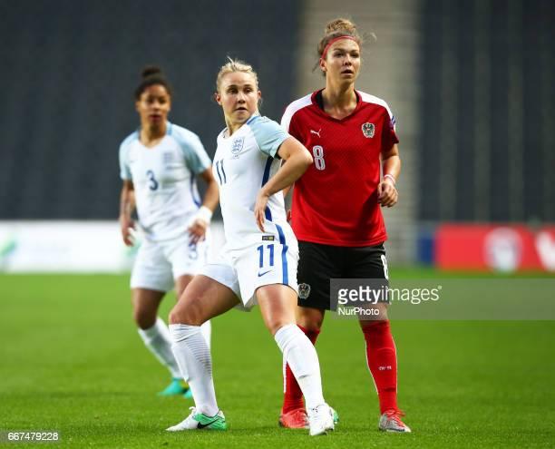 LR England Women's Isobel Christiansen and Nadine Prohaska of Austria Women's during International Friendly match between England Women and Austria...