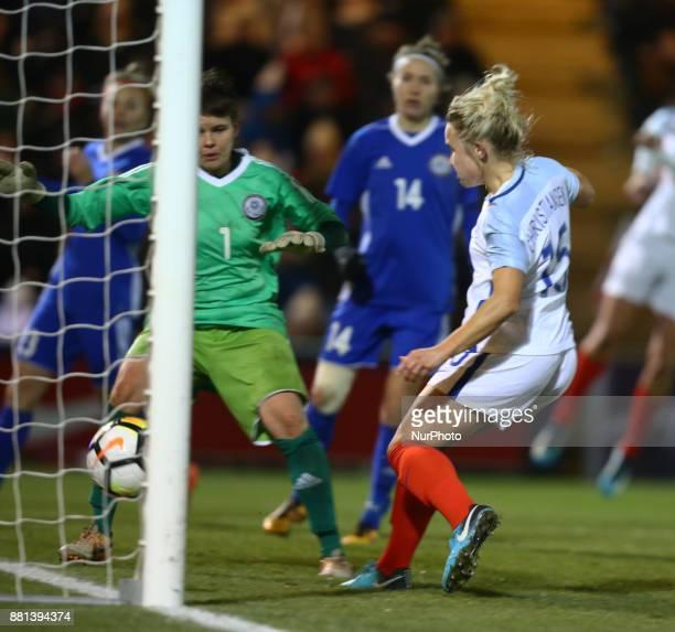 England Women's Isobel Christiansen scores her sides fifth goal during 2019 FIFA Women's World Cup Qualifier match between England Women and...