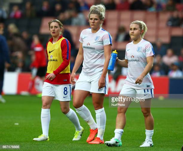 LR England Women's Jade Moore England Women's Millie Bright and England Women's Isobel Christiansen during the prematch warmup during International...