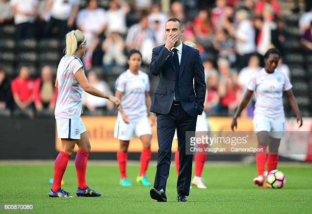 England women's Manager Mark Sampson during the prematch warmup ahead of the UEFA Womens European Championship Qualifying Group 7 match between...