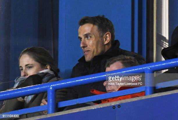 England Women's manager Phil Neville watches the action during the Liverpool Ladies v Bristol City Women WSL game at Select Security Stadium on...