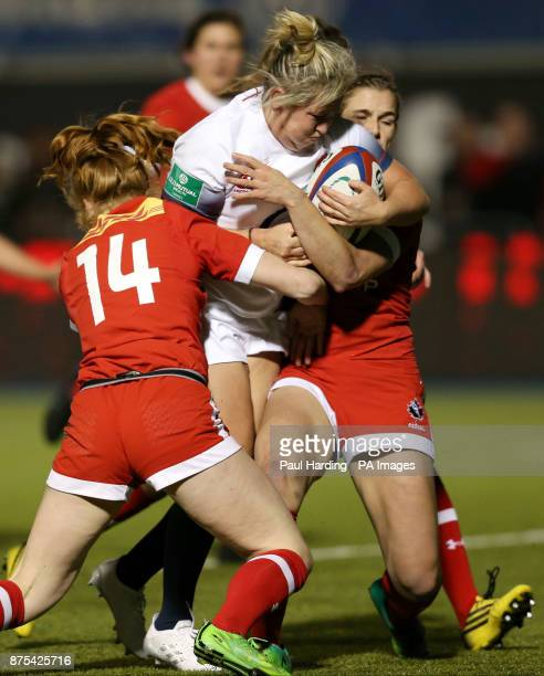 England Women's Marlie Packer and Canada Women's Paige Farries during the first test of the Old Mutual Wealth Series at Allianz Park London