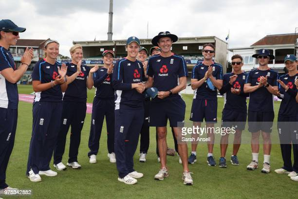 England Women's Natalie Sciver is presented with her 50th cap by head coach Mark Robinson before the start of the 3rd ODI of the ICC Women's...