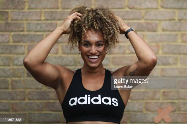 England Women's Rugby Player Celia Quansah poses for a portrait after she trains at her home on June 09, 2020 in Hampton, England.