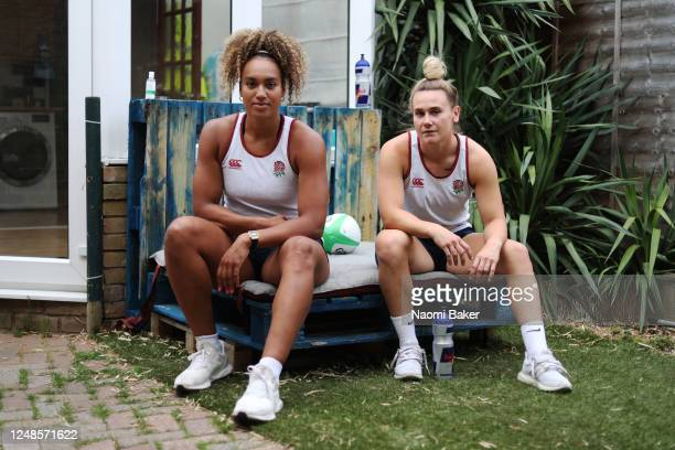 England Women's Rugby Players Celia Quansah And Megan Jones pose for a portrait after they train together at their home on June 09, 2020 in Hampton,...