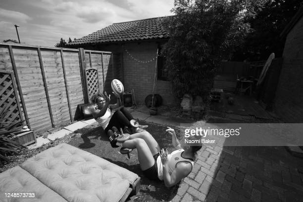 England Women's Rugby Players Celia Quansah And Megan Jones train together at their home on June 09, 2020 in Hampton, England.