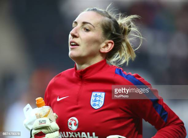 England Women's Siobhan Chamberlain during the prematch warmup during International Friendly match between England Women and Austria Women at Stadium...