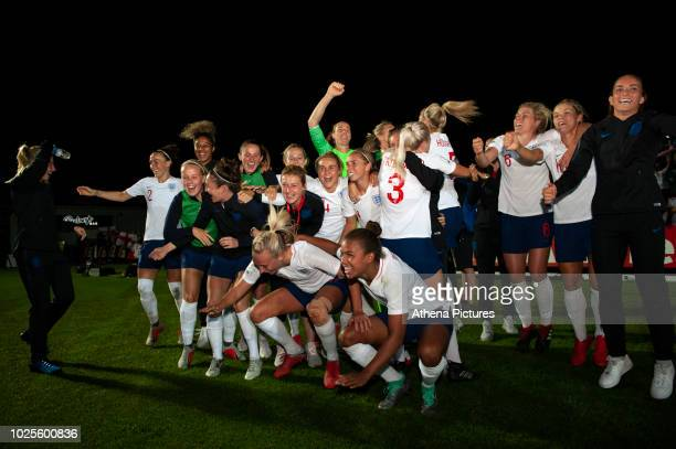 England Womens team celebrate at full time of the FIFA Women's World Cup Qualifier match between Wales and England at Rodney Parade on August 31 2018...