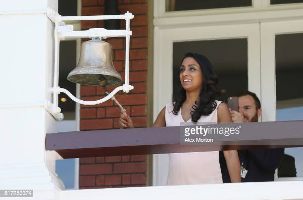 England World Cup winner Isa Guha rings the Lord's bell to signal the start of the official Guinness World Record attempt for the largest cricket...