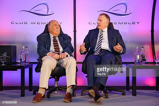 England World Cup winners Jimmy Greaves and Sir Geoff Hurst take part in a Club Wembley business breakfast event prior to the unveiling of the FIFA...
