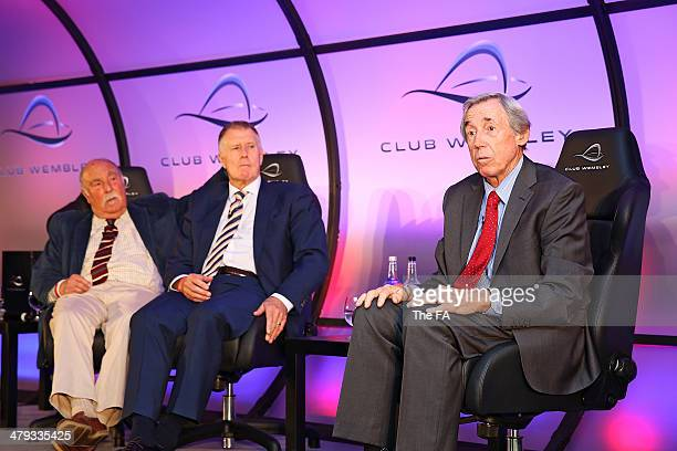 England World Cup winners Jimmy Greaves, Sir Geoff Hurst and Gordon Banks take part in a Club Wembley business breakfast event prior to the unveiling...