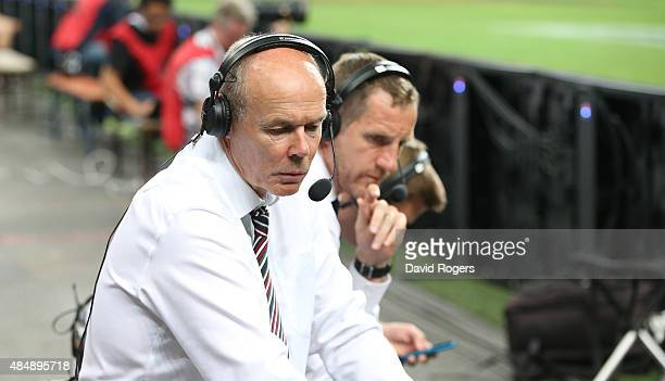 England world cup winning coach Sir Clive Woodward and England world cup winning centre Will Greenwood look at televsion monitors during the...