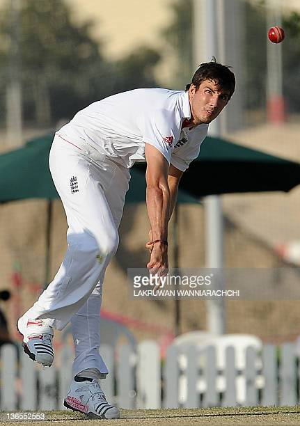 England XI cricketer Steven Finn delivers the ball during the second day of a threeday practice match between the England XI and ICC Combined XI at...