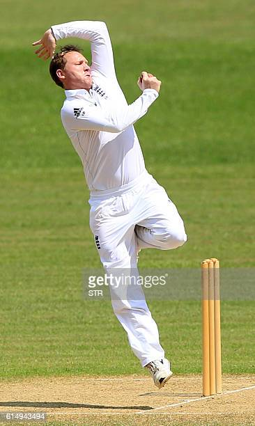 England XI Gareth Batty delivers a ball during the first day of the second warmup match between BCB XI and England XI at the MA Aziz Stadium in...