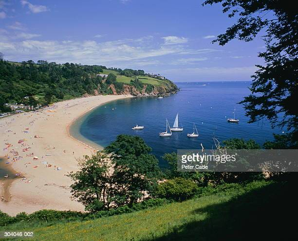 england,devon,dartmouth,view looking down on blackpool sands - devon stock pictures, royalty-free photos & images