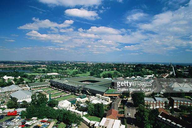 England,London,Wimbledon Tennis Club, view across courts in summer