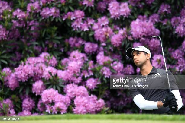 England's Aaron Rai chips out on the 16th green during day two of the 2018 BMW PGA Championship at Wentworth Golf Club Surrey