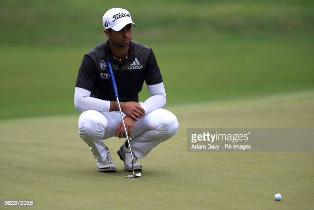 England's Aaron Rai plays on the 13th green during day two of the 2018 BMW PGA Championship at Wentworth Golf Club Surrey