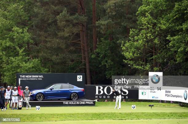 England's Aaron Rai plays tees on the 14th hole during day two of the 2018 BMW PGA Championship at Wentworth Golf Club Surrey