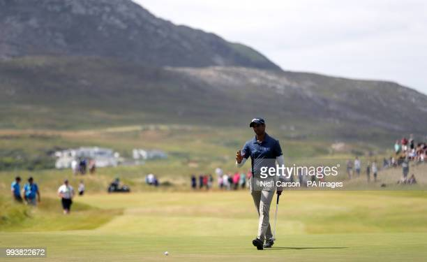 England's Aaron Rai putts on the 18th during day four of the Dubai Duty Free Irish Open at Ballyliffin Golf Club