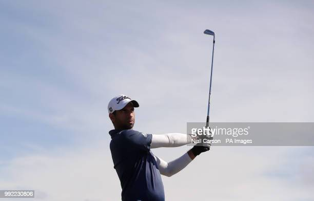England's Aaron Rai tees off on the fourteenth during day one of the Dubai Duty Free Irish Open at Ballyliffin Golf Club