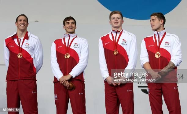 England's Adam Brown Adam Barrett Adam Peaty and Chris WalkerHebborn collect their gold medals for the Men's 4 x 100m Medley Relay Final at Tollcross...