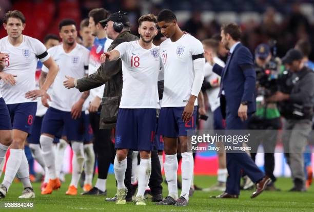 England's Adam Lallana and Marcus Rashford after the international friendly match at Wembley Stadium London