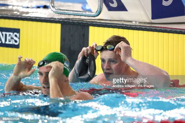 England's Adam Peaty after finishing second behind the winner South Africa's Cameron van der Burgh in the Men's 50m Breaststroke Final at Tollcross...