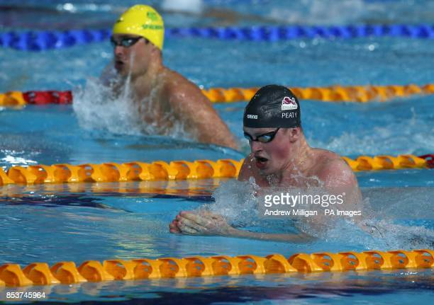 Englands Adam Peaty during heat 5 of the mens 100m Breaststroke at Tollcross International Swimming Centre during the 2014 Commonwealth Games in...