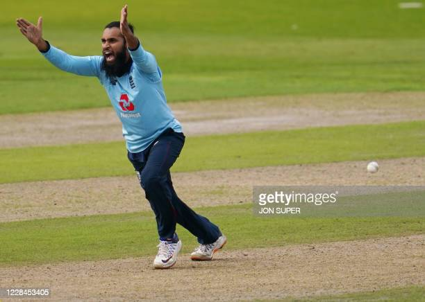 England's Adil Rashid appeals for the wicket by LBW of Australia's Marnus Labuschagne during the one-day international cricket match between England...