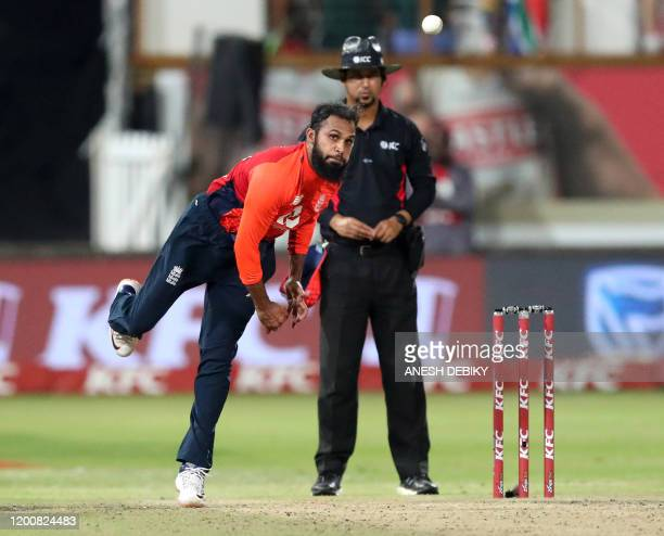 England's Adil Rashid bowls during during the second Twenty20 international cricket match between South Africa and England at the Hollywood bets...