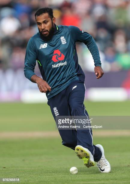 England's Adil Rashid during the Royal London OneDay Series 2nd ODI between England and Australia at Sophia Gardens on June 16 2018 in Cardiff Wales