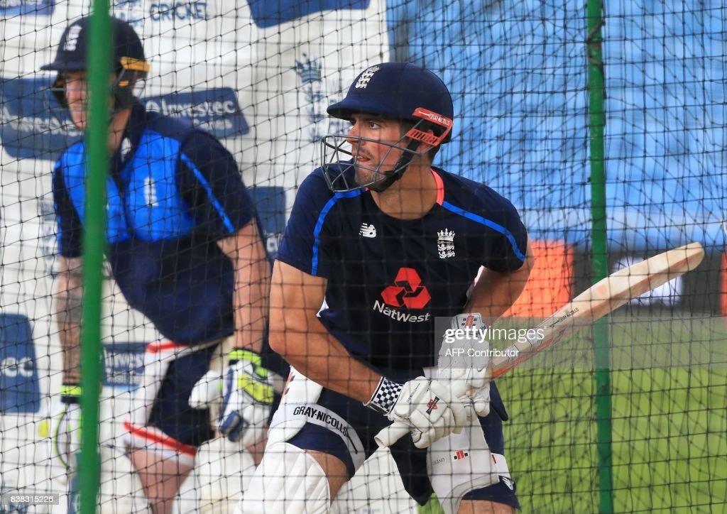 England's Alastair Cook attends a nets practice session at