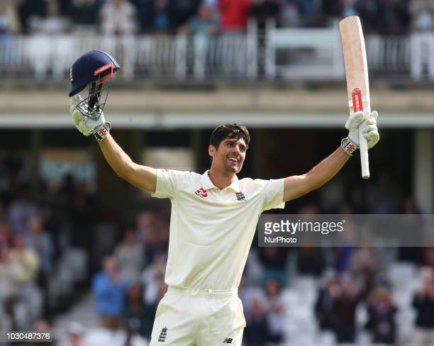 England's Alastair Cook celebrates his century during International Specsavers Test Series 5th Test match Day Four between England and India at Kia...