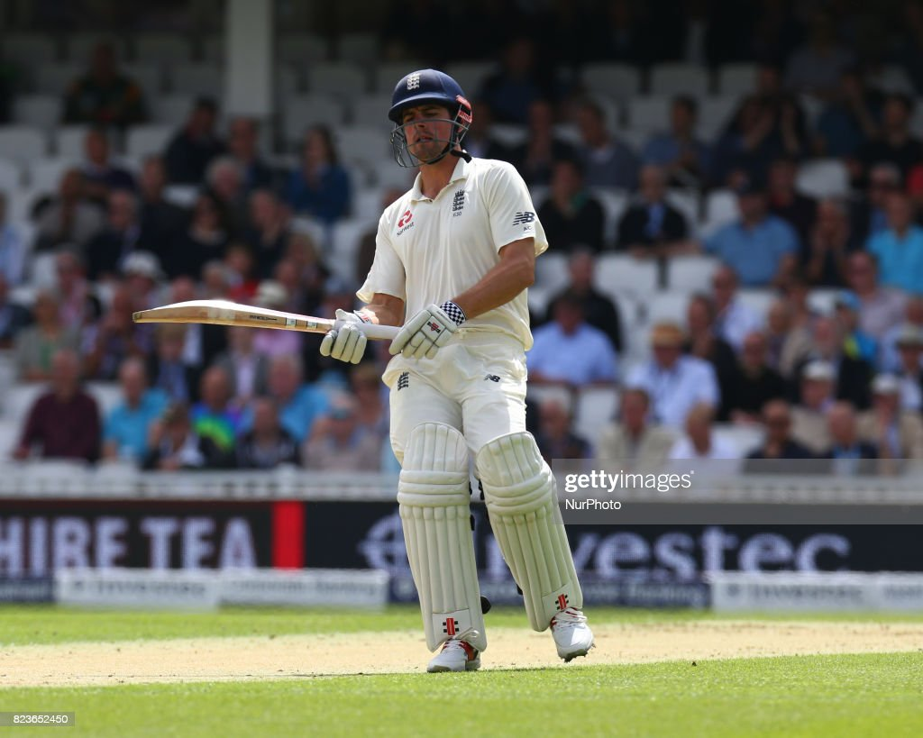 England's Alastair Cook during the International Test Match Series Day One match between England and South Africa at The Kia Oval Ground in London on July 27, 2017