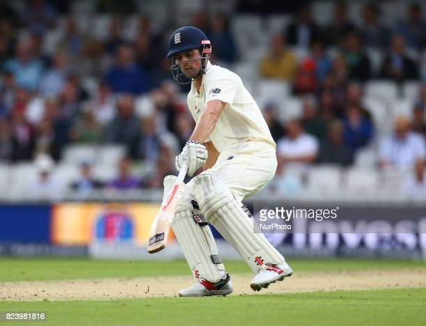 England's Alastair Cook during the International Test Match Series Day One match between England and South Africa at The Kia Oval Ground in London on...