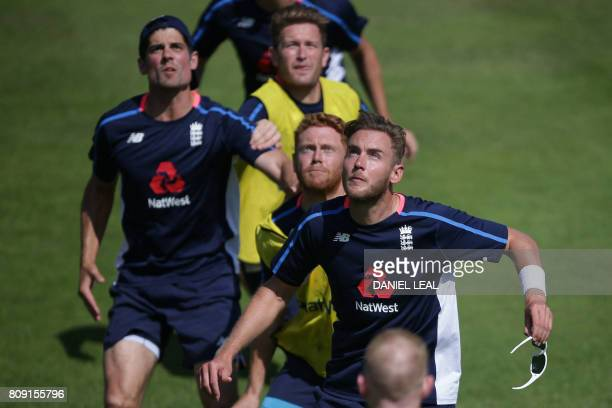 England's Alastair Cook , Stuart Broad and Jonny Bairstow look up during a practice session prior to the first Test match between England and South...