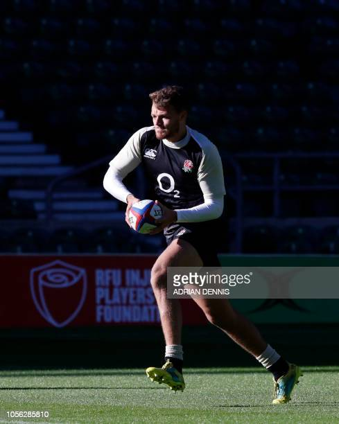 England's Alec Hepburn runs with the ball during the captain's run training session at Twickenham stadium in south west London on November 2 ahead of...