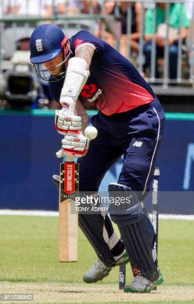 England's Alex Hales bats during the fifth oneday international cricket match between England and Australia at the Optus Perth stadium in Perth on...