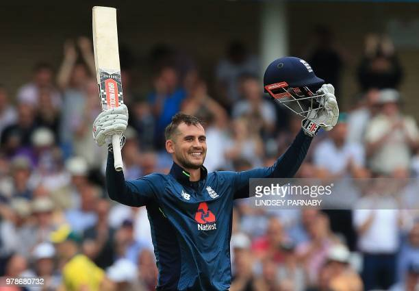 England's Alex Hales celebrates his century during the third OneDay International cricket match between England and Australia at Trent Bridge cricket...