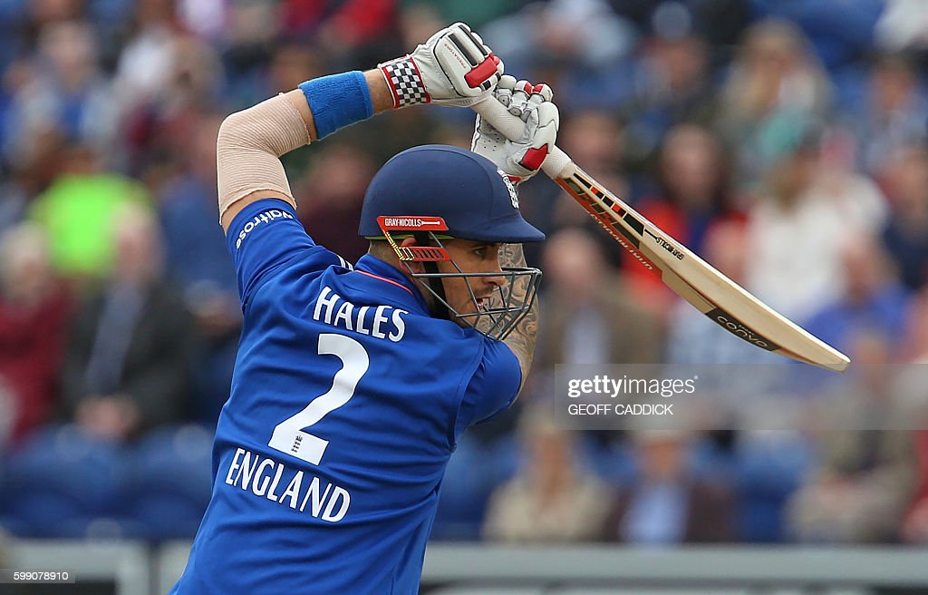 England's Alex Hales plays a shot during play in the fifth one day international (ODI) cricket match between England and Pakistan at The SWALEC Stadium in Cardiff, south Wales, on September 4, 2016. Pakistan won the toss and chose to bowl under cloudy skies in Cardiff. / AFP / Geoff CADDICK