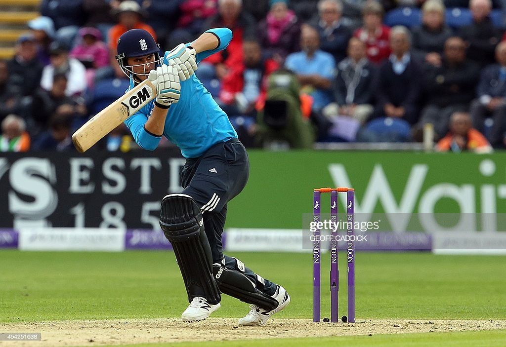 England's Alex Hales plays a shot during the second one-day international cricket match between England and India at the Glamorgan County Cricket Ground in Cardiff, Wales on August 27, 2014.
